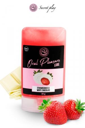 Lubrifiant comestible fraise & chocolat blanc : Lubrifiant 100% comestible au parfum fraise & chocolat blanc signé de la marque Espagnole Secret Play.